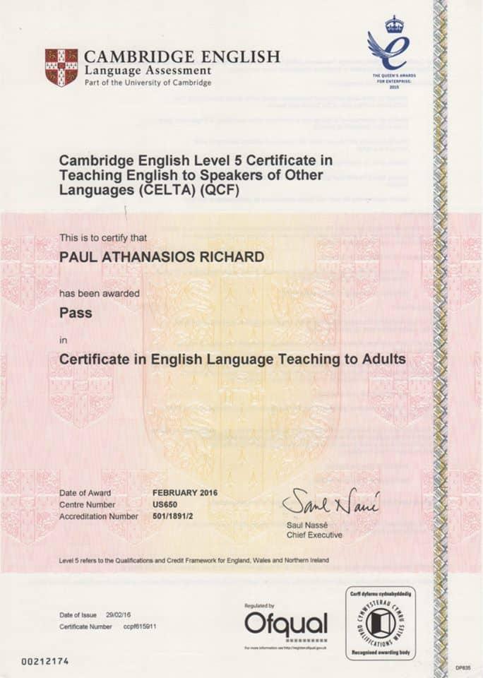 CELTA Cambridge Englischlehrer